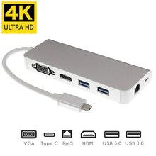 USB Type C к HDMI VGA гигабитный Ethernet Lan RJ45 адаптер для Macbook Air / Pro USBC PD зарядного концентратора 6 в 1 Type C расширитель док станции