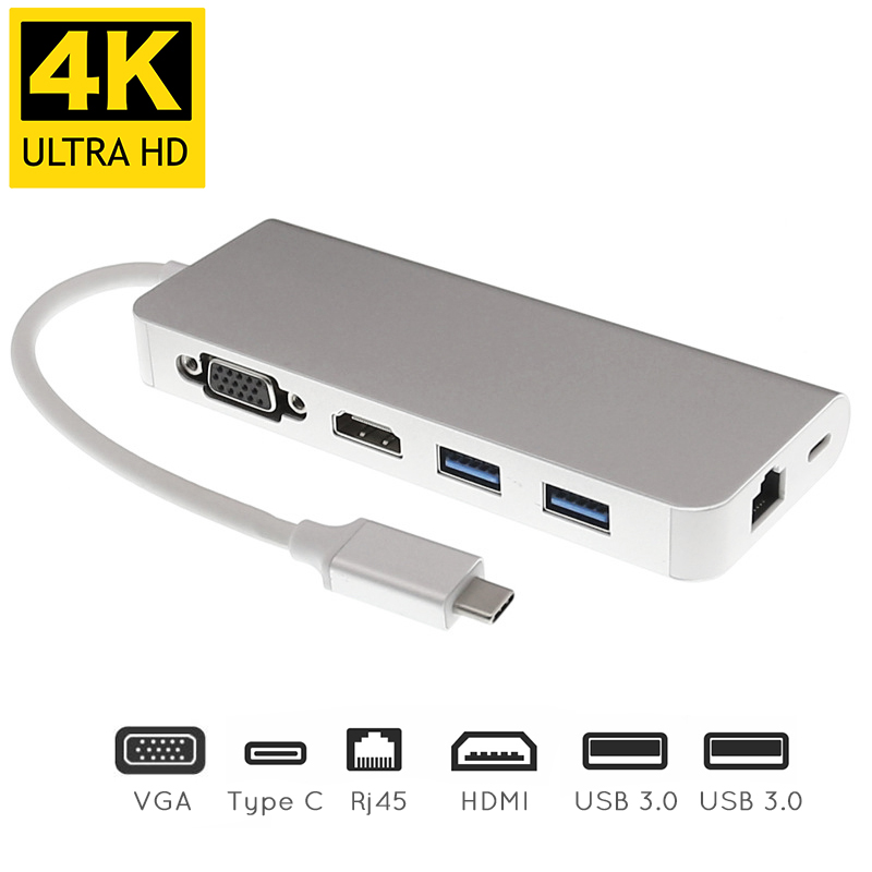 USB Type C to HDMI VGA Gigabit Ethernet Lan RJ45 Adapter for Macbook Air / Pro USBC PD Charging Hub 6 in 1 Type C Extender Dock