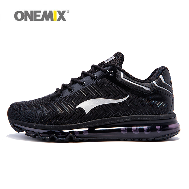 ONEMIX Men Athletic Shoes For Running Cushion DMX Man's Sport Walking Sneakers Trekking Trainers Runner Black Size US 6-12 onemix 2018 woman running shoes women nice trends athletic trainers zapatillas sports shoe max cushion outdoor walking sneakers