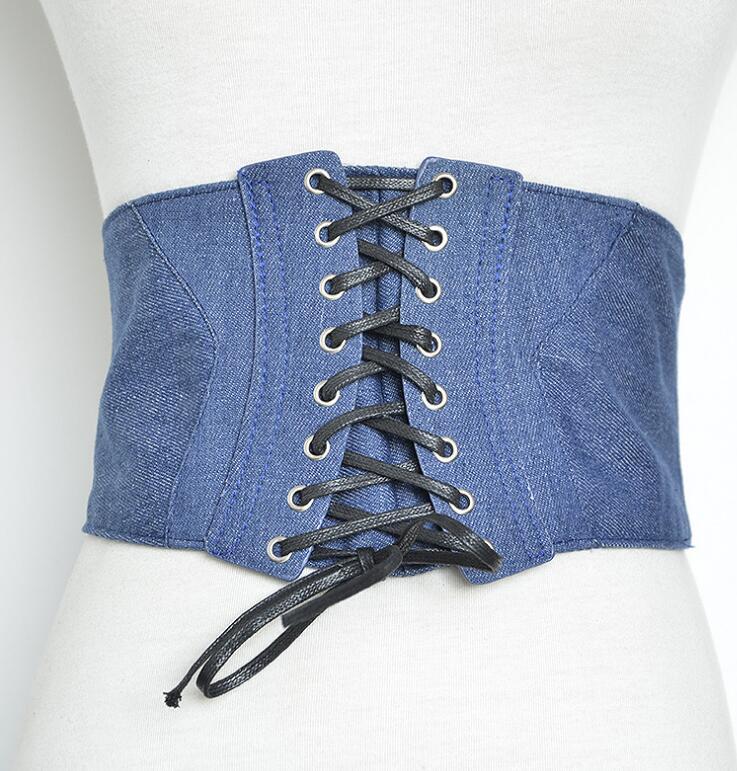 Women's Runway Fashion Denim Fabric Elastic Cummerbunds Female Dress Corsets Waistband Belts Decoration Wide Belt R1398