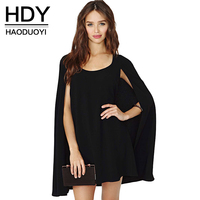 Haoduoyi 2017 Fashion New Women Solid Color Office Lady Elegant Casual Cape Sleeve Mini Lady Summer Dress