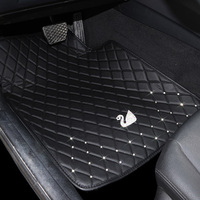 Universal Swan Crystal Car Floor Mats Anti Slip Leather Auto Carpet For Interior Accessories Floor Cover