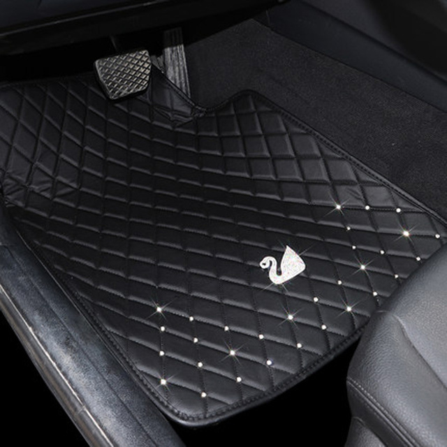 car floor mats for women. Universal Swan Crystal Car Floor Mats Anti Slip Leather Auto Carpet For Interior Accessories Cover Women