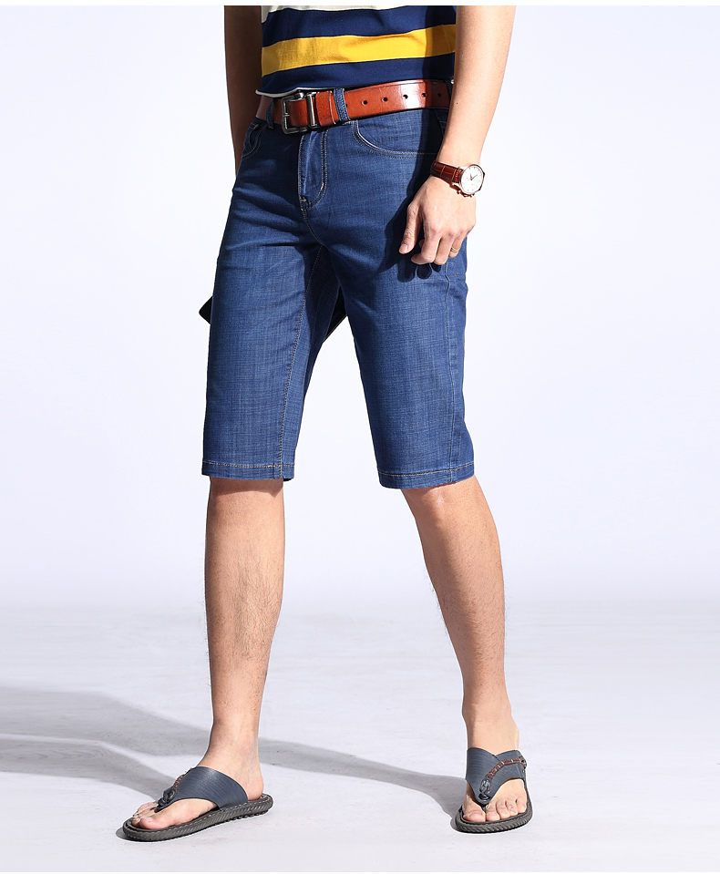 KSTUN Summer Shorts Men Jeans Straight Solid Blue Stretch Thin Regular Fit Business Casual Breathable Soft Material Mens Short Jeans 12