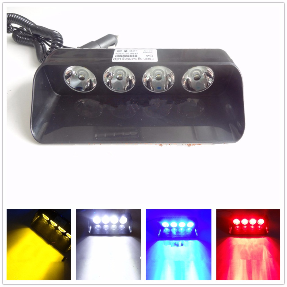 CYAN SOIL BAY 4 LED Car Emergency Warning Dashboard Dash Visor Police Strobe Lights 4LED Lamp Red Blue White Amber 4pcs positive earth blue ba7s led dashboard gauge warning switch bulb 12v red white green amber glb281