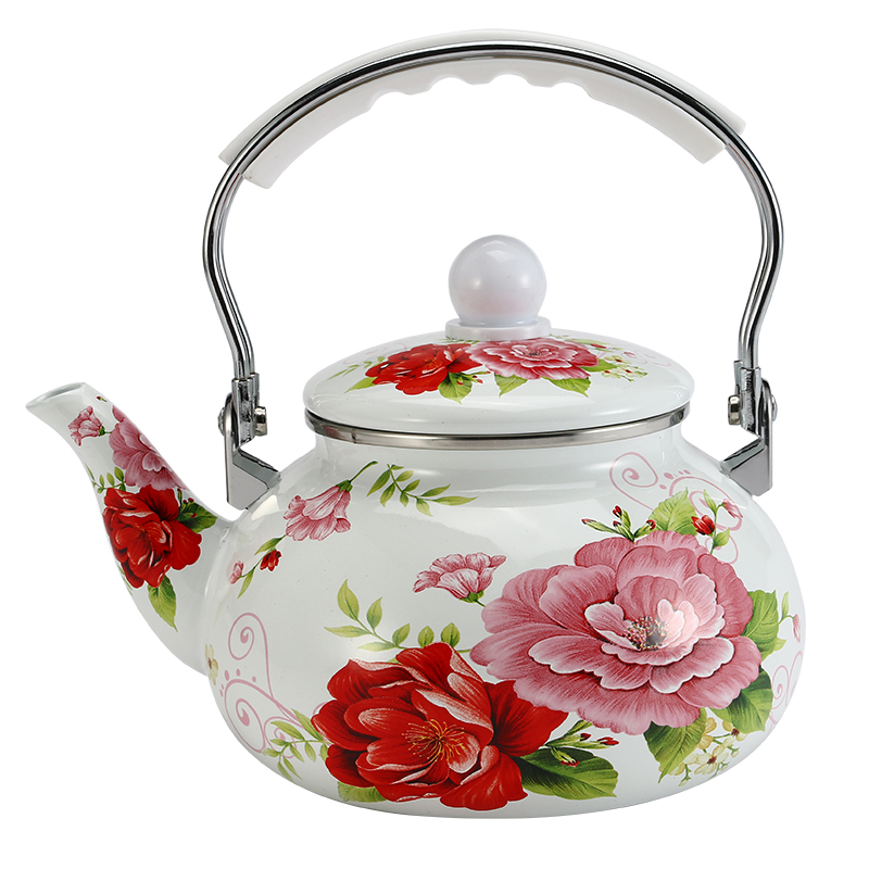 2 0 L Enamel Water Kettle Creative Red Flower Coffee Pot with Plastic Handle for Home