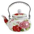 2 0 л эмалированный чайник для воды креативный красный цветочный кофейник с пластиковой ручкой для домашней кухни