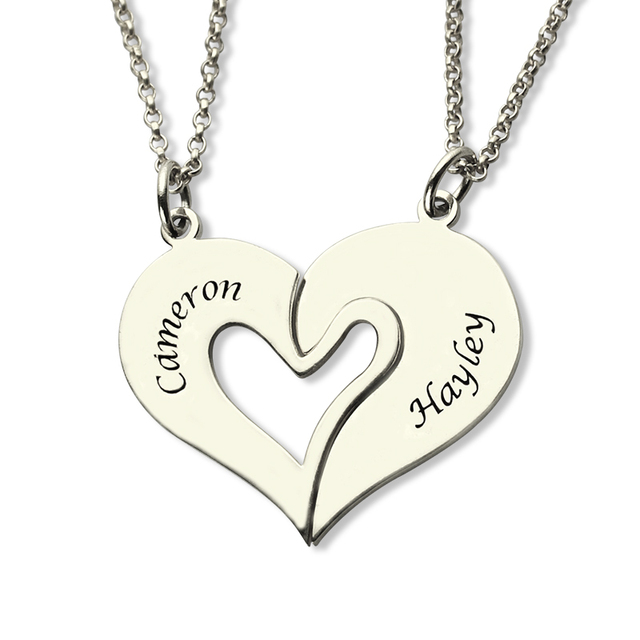 f4d742978a AILIN Breakable Heart Necklace Set For Couple Customized Name Necklace Set  in Silver Always Be with You Valentine's Day Jewelry