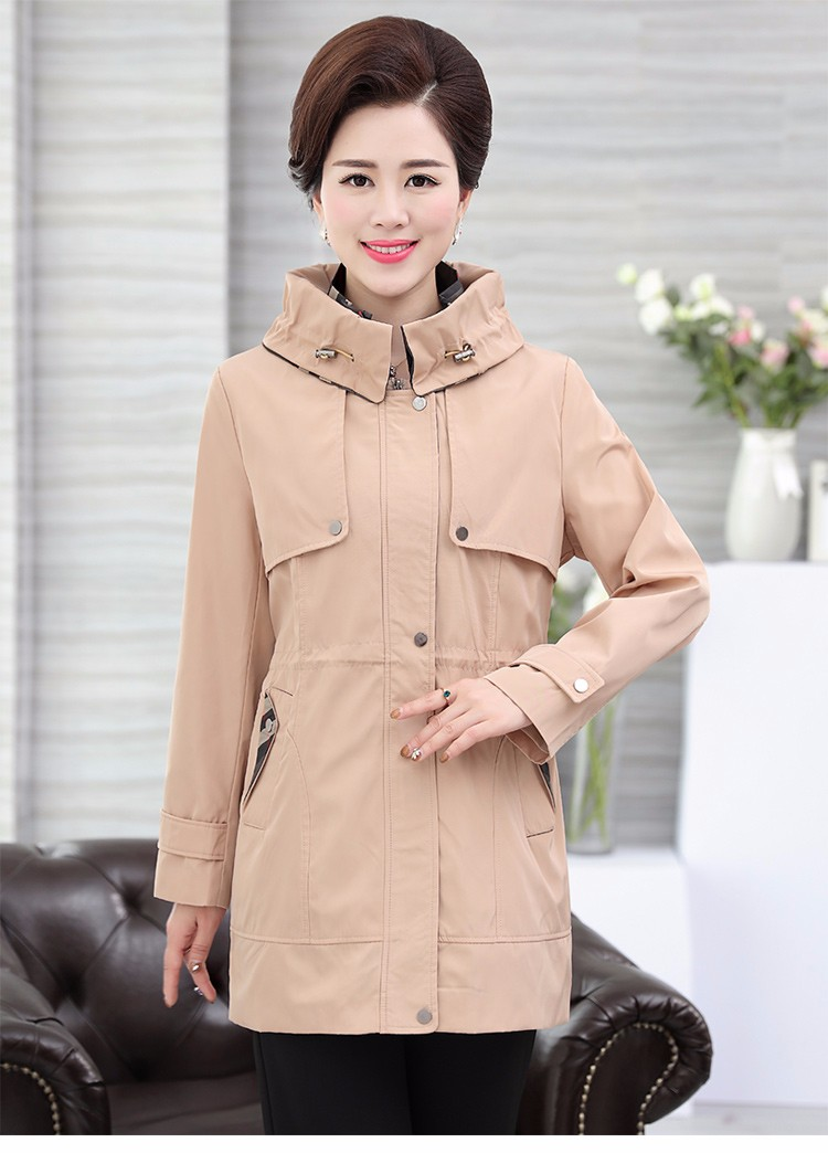 British Style Woman Beige Trench Coat Red Black Overcoat Middle Aged Women\'s Casual Trench Lady Casual Duster Coats 40s 50s 60s Windbreakers (15)