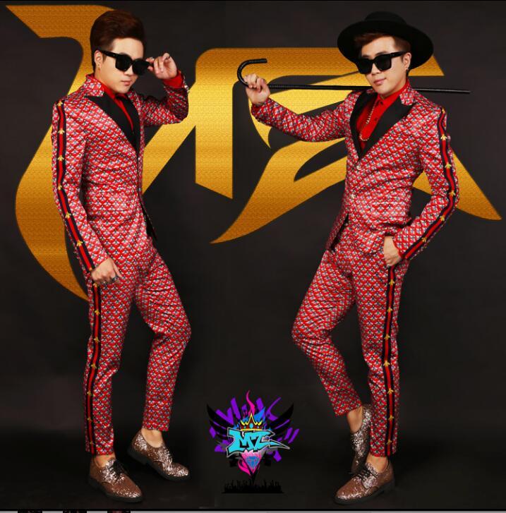 Men's Slim Suit Suits Personality Trends Men's Nightclubs Men's DJ Suits Bars Male Singers Costumes