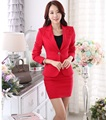 Novelty Red Slim Fashion Autumn Winter Formal Uniform Design Work Wear Suits With Jackets And Skirt Professional Outfits Blazers