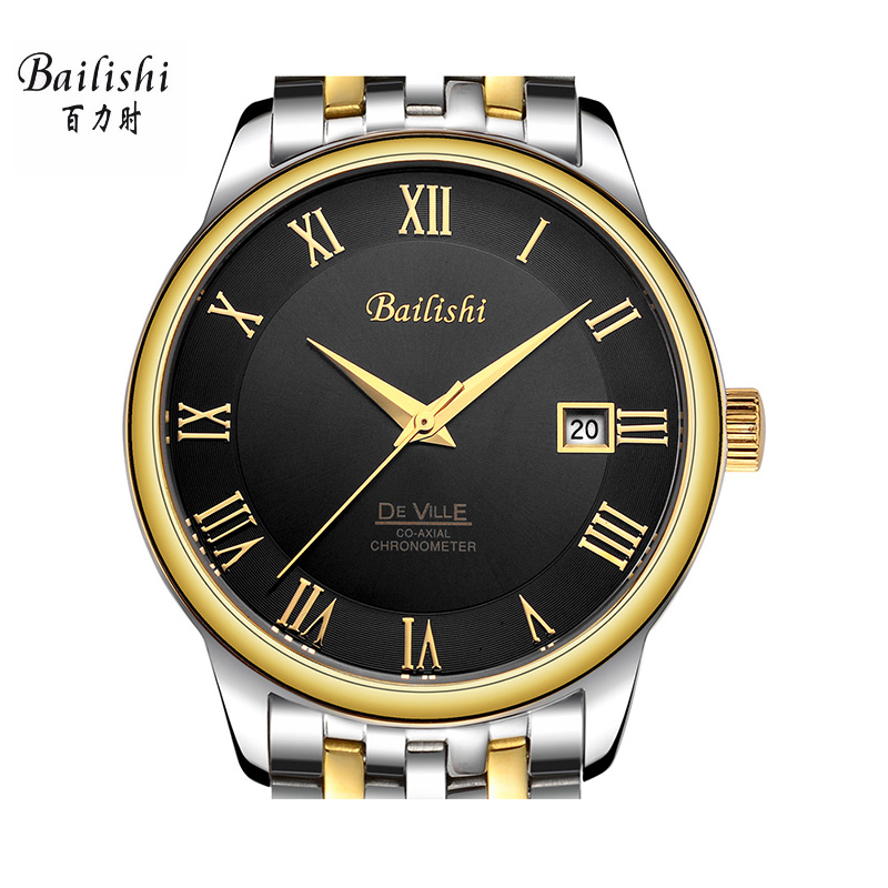 BAILISHI Black Men mechanical wristwatches brand luxury male watches silver stainless steel business sport relogio feminino кошелек dieerfei d32 5