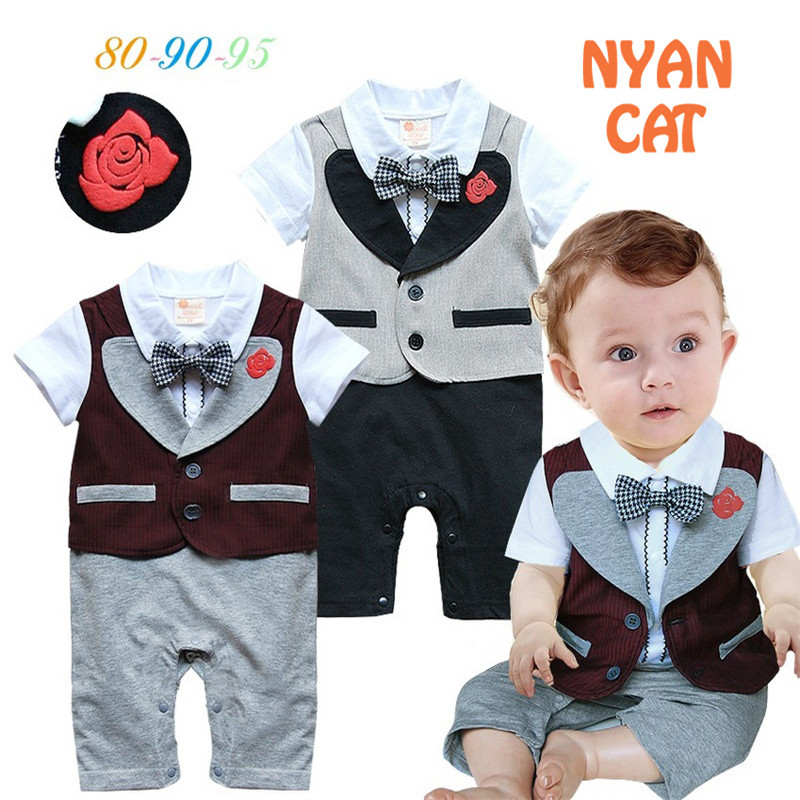 2018 Baby Clothes Rompers Newborn Baby Onesie Gentleman Short Sleeve Bow tie Rompers For Baby Boy Clothes ropa recien nacido