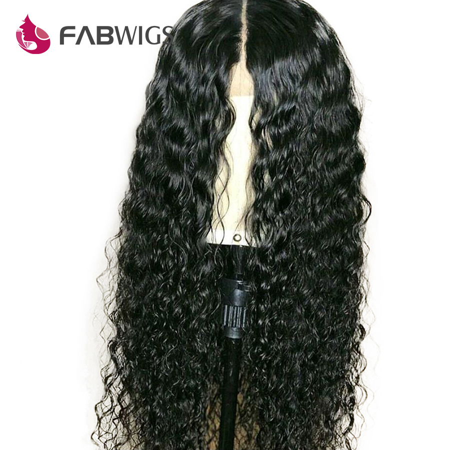 Fabwigs 13x6 Lace Front Human Hair Wigs Pre Plucked Brazilian Curly Human Hair Wig For Women