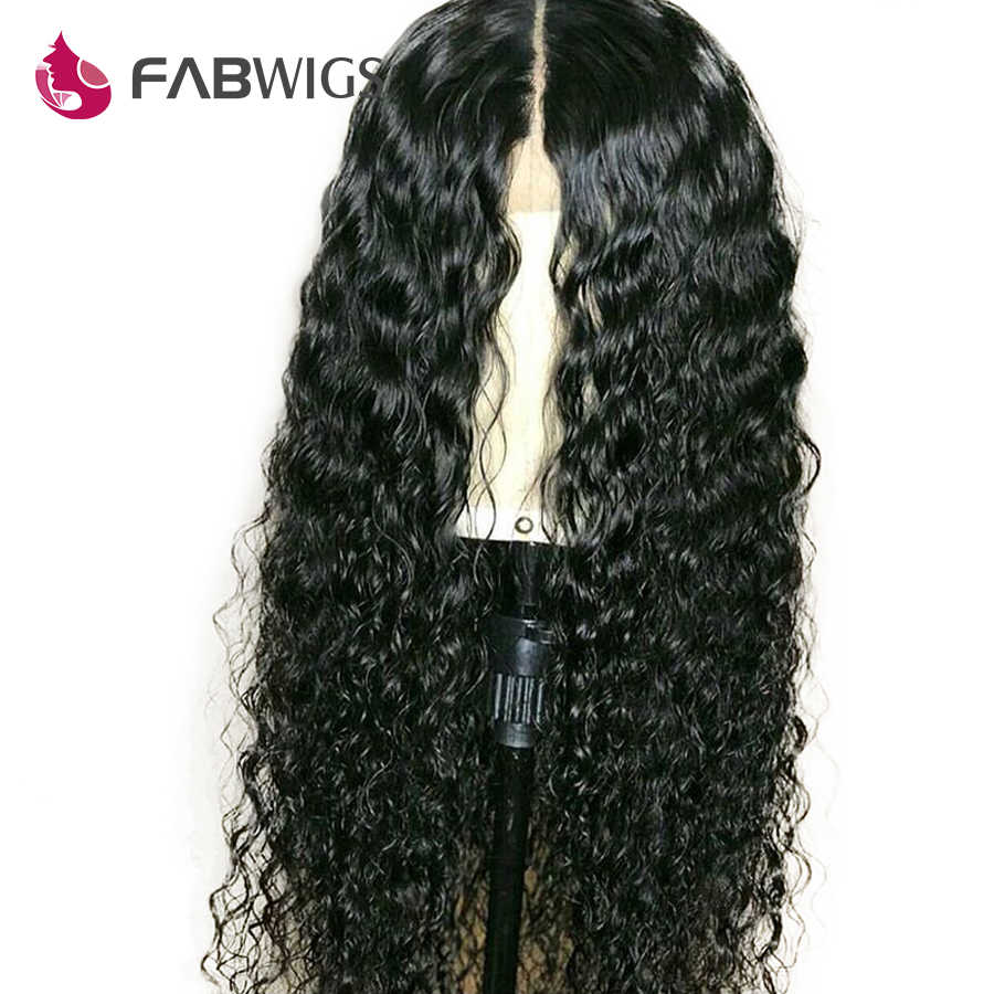 Fabwigs 13x6 Синтетические волосы на кружеве человеческих волос парики предварительно сорвал бразильский вьющиеся волосы человека парик для Для женщин натуральный черный Волосы remy