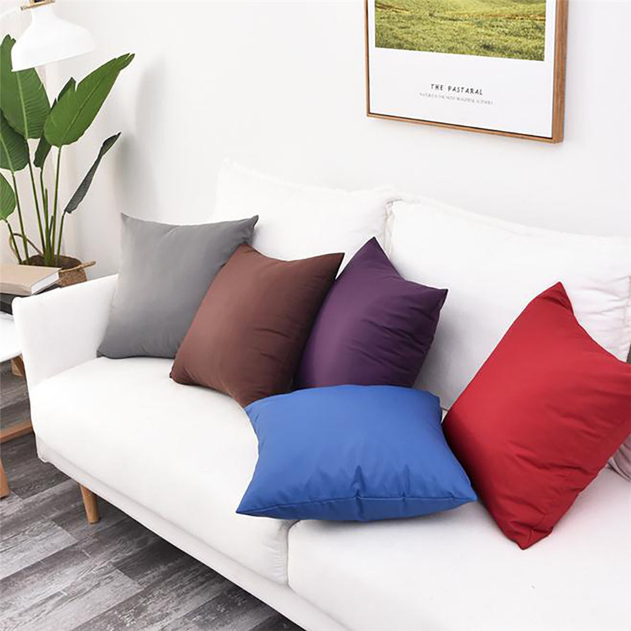 New Soft Decorative Cushion Covers 45x45cm 1PC Simple Solid Color Waterproof Pillowcase Outdoor Car Decor Cushion Cover 0717#30 image