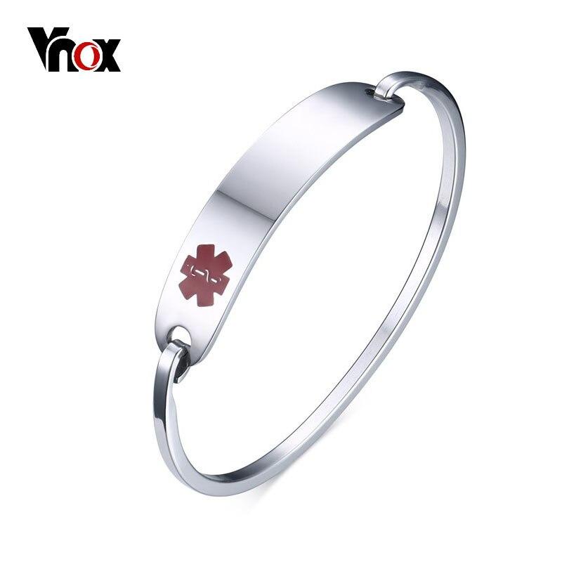 Vnox Livraison Gravure Acier Inoxydable Alerte Médicale ID Bracelet Bracelet pour Hommes Femmes Argent/Or Couleur 2.36 /2.55 Diamètre