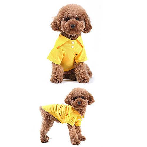 子犬犬猫夏無地ケリポロシャツペット服衣装tシャツ