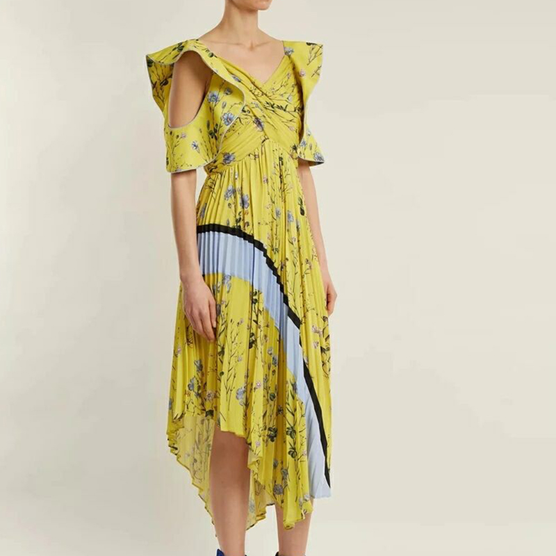 HIGH QUALITY New Fashion 2018 Designer Runway Dress Women's Floral Ruffle Asymmetrical Dress