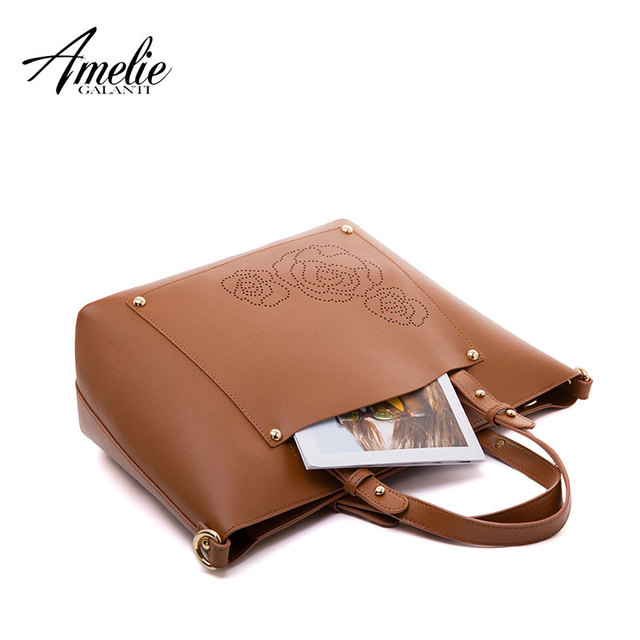 AMELIE GALANTI Luxury Leather Women's Handbag Floral Hard PU Leather Composite Bag Set Large Capacity Women Crossbody Bags Top-Handle Bags