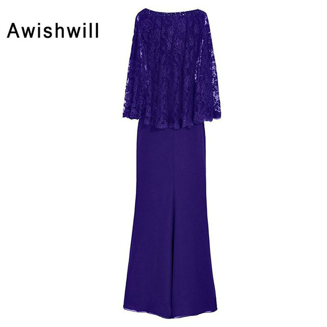 Customized Wedding Party Dress for Women With Lace Cape Chiffon Long Formal Evening Gowns Elegant Mother of The Bride Dresses 2