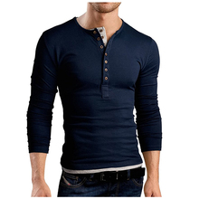 MenS T-Shirt 2019 New Tee Tops Long Sleeve Double Button Design Stylish Slim Fit Casual Men T Shirt Large Size