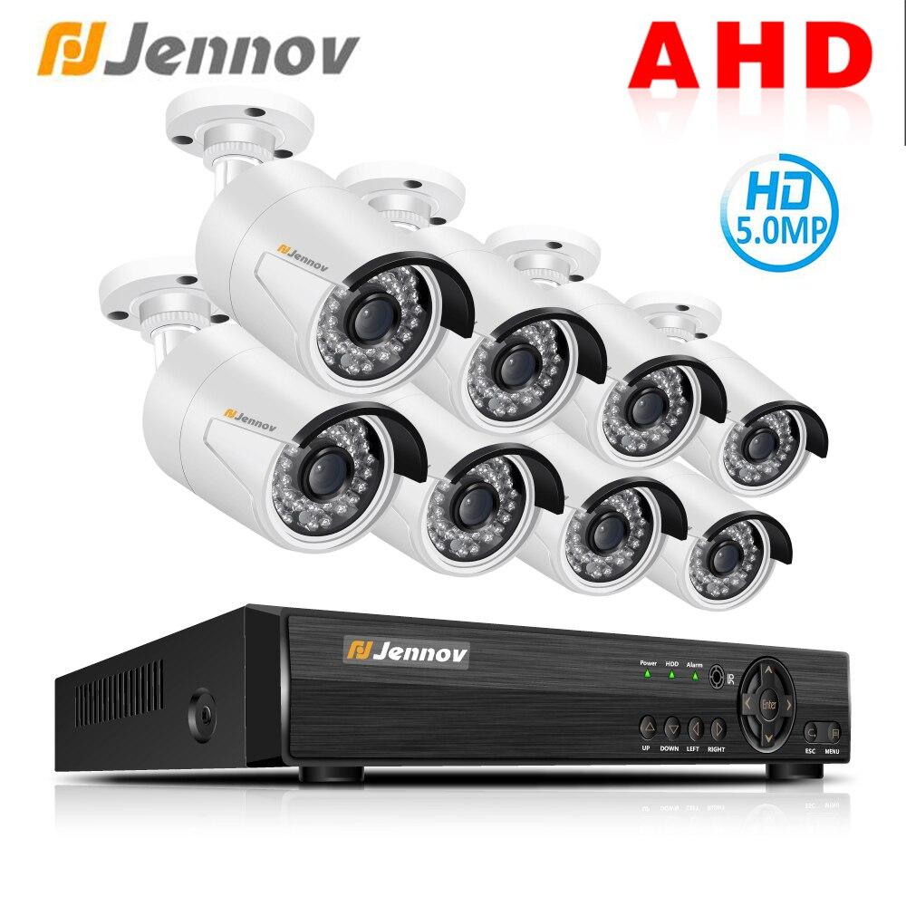 Jennov 8CH 5MP HD AHD Caméra DVR Kit Système de Caméra de Sécurité CCTV Ensemble Vidéo Surveillance Système P2P Nuit Vision IP étanche