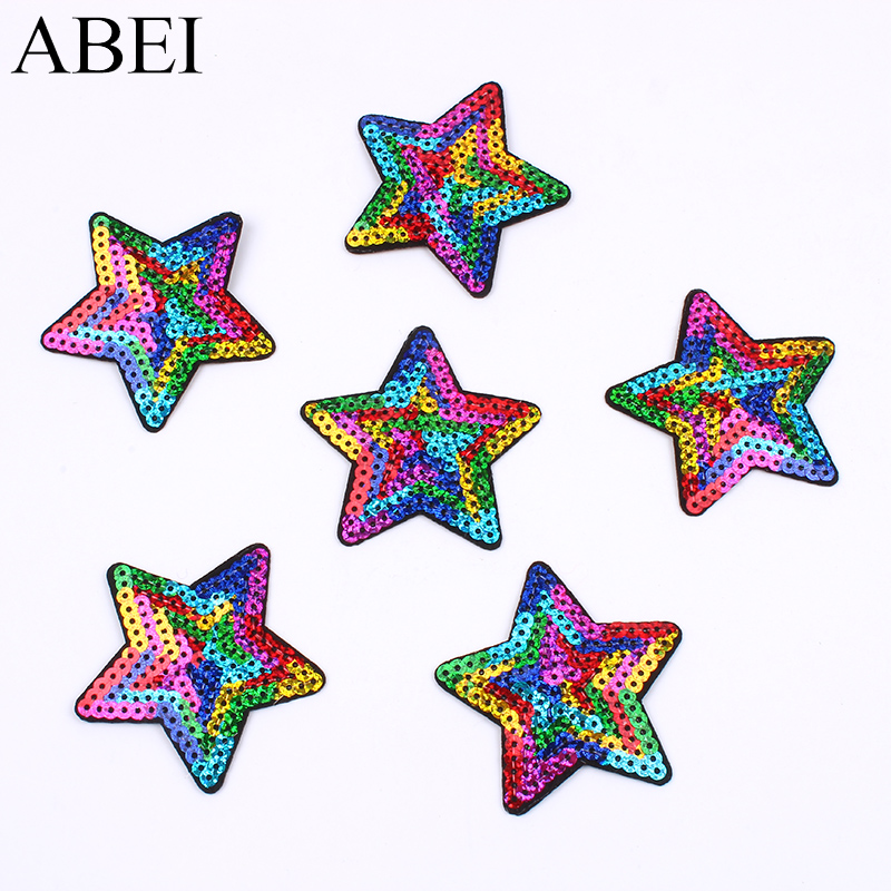 10pcs/lot Sequined Star Patch Iron On Sew On star Stickers for Clothes Jeans Appliques DIY Coats Pants Badge Sewing Patches