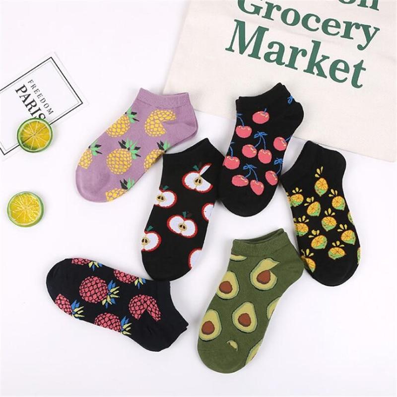 Cute Avocado/Pineapple/Cherry Socks Girl Fashion Fruit Socks Happy Funny Ankle No Show Summer Harajuku Short Kawaii Socks Women