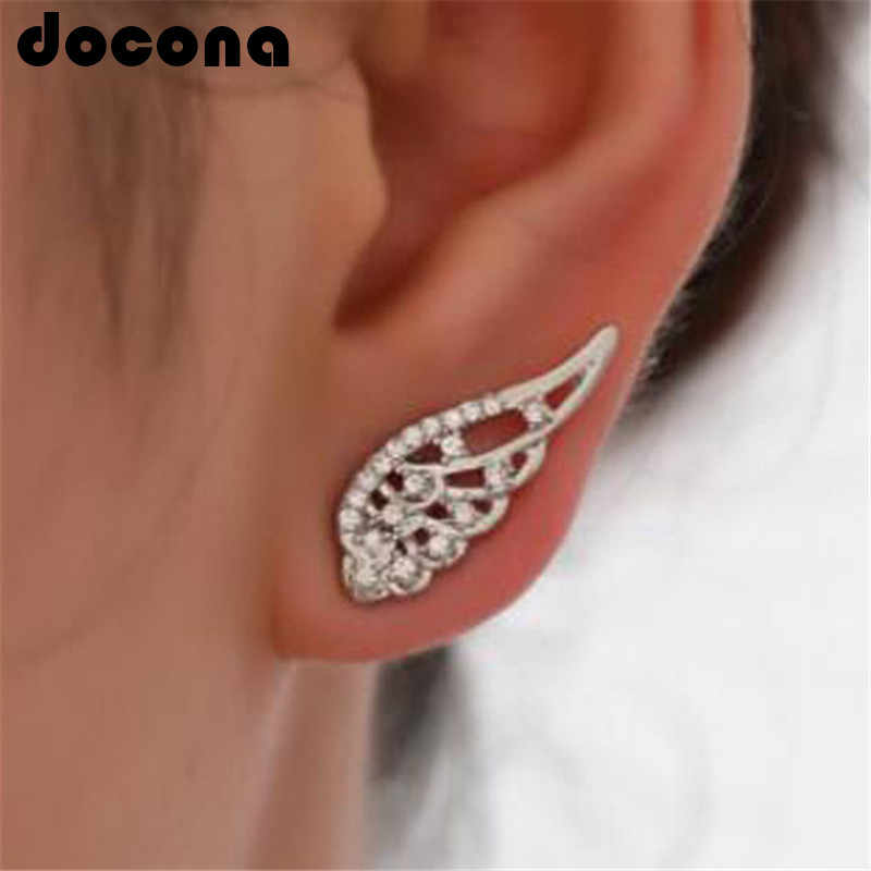 docona Tiny Crystal Angel Wing Stud Earrings for Women Hollow Geometric Studs Earring Party Jewelry Brincos 3402