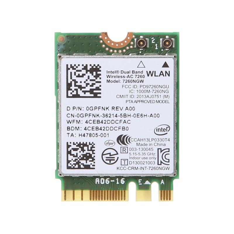 Dell Intel Dual Band Wireless-AC 7260 7260NGW NGFF M.2 Bluetooth WiFi Network Card