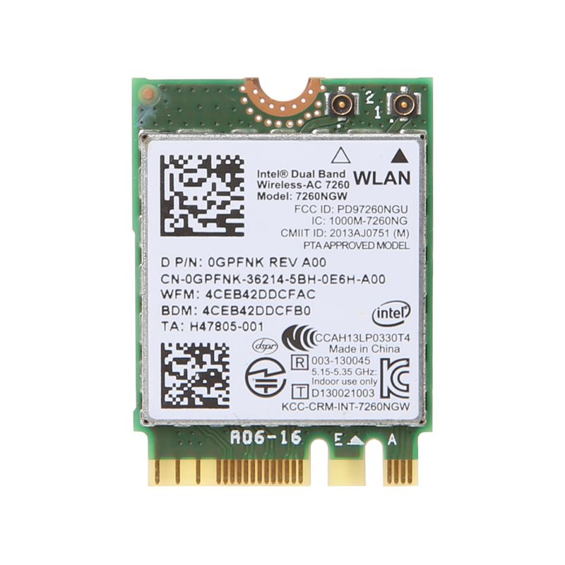 Dell Intel Dual Band Wireless-AC 7260 7260NGW NGFF M.2 Bluetooth WiFi Network Card