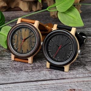 Image 3 - BOBO BIRD M13M14 Wenge Wood Bamboo Watches for Men Simple Design Quartz Wristwatch in Wooden Gift Box