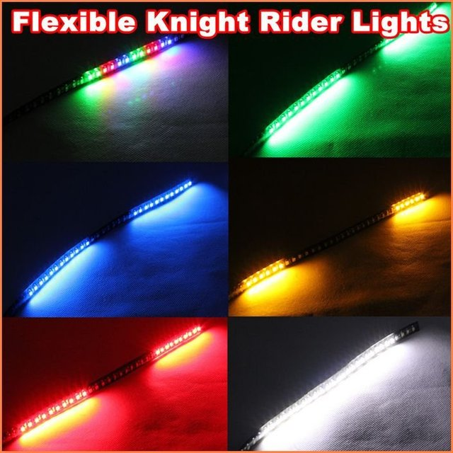 High bright 30cm Flexible 32 LED Knight Rider Lights with scanning Strobe flash 3528 LED Strip  car Lights free shipping