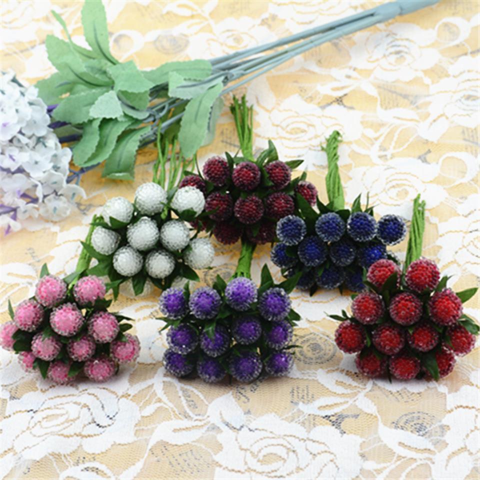 12 шт. маленькие ягоды искусственный цветок Cherry тычинки перламутровые Свадебные моделирование стекло Гранатовое украшение