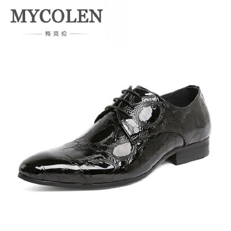 MYCOLEN Luxury Brand Men Patent Leather Dress Shoes Brand Male Wedding Oxford Shoes Rubber Elevator Shoes Men Sapatos Masculino men shoes wedding dress italian style men oxford genuine leather lace up black flats shoes luxury brand shoes sapatos homens