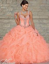 Anos пышное ватки сладкие кристаллы quinceanera длиной бальное пола vestidos до