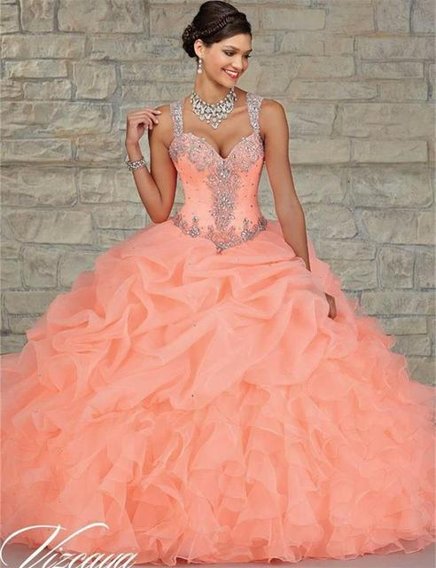 40dfde2bb8 Coral turquesa baratos vestidos de quinceañera 2017 del amor del grano del  vestido de bola vestido
