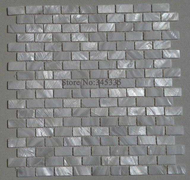 Blanc Brique Tuile De Mosaique De Coquille De Nacre Cuisine Dosseret