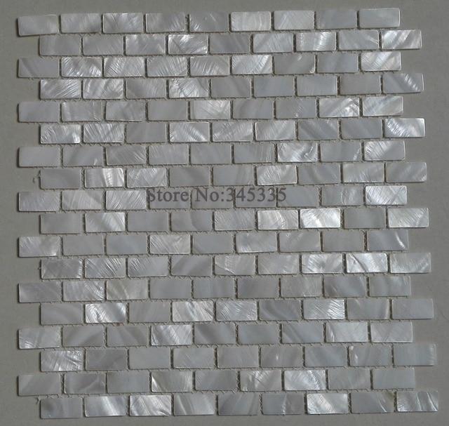 Tapete Auf Fliesen weiße ziegel shell mosaik fliesen perlmutt küche backsplash dusche