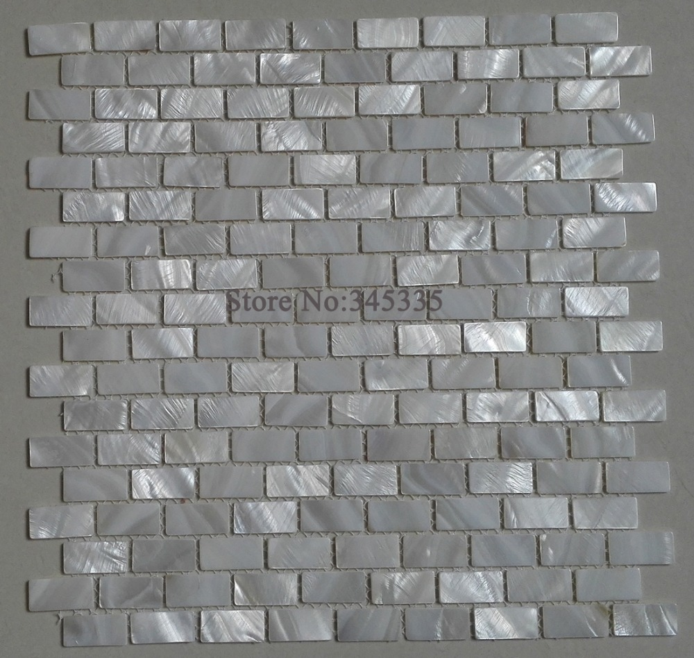 White Brick Shell Mosaic Tile Mother Of Pearl Kitchen Backsplash Shower Wallpaper Bathroom Bedroom Tiles Factory