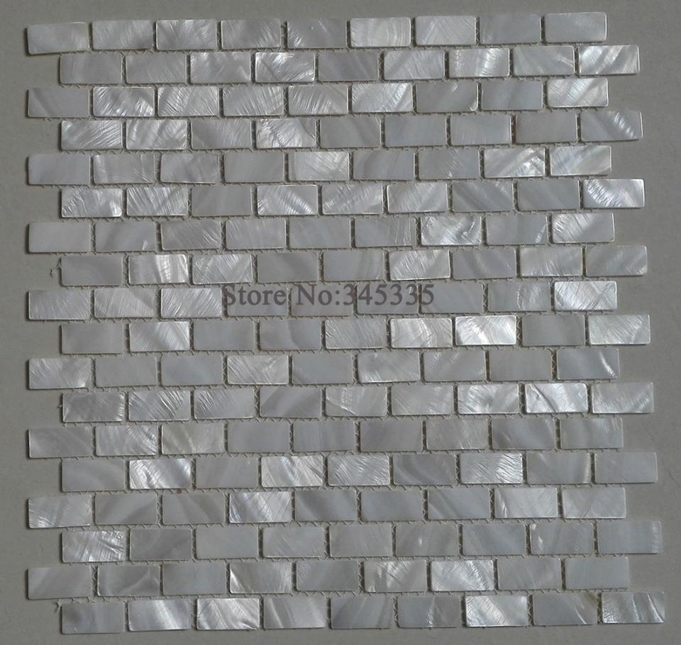 - White Brick Shell Mosaic Tile Mother Of Pearl Kitchen Backsplash