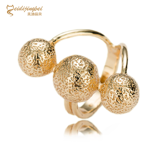 2017 Fashion High Quality Jewelry Three Ball Ring Environmental Joint Ring Exquisite Plated Rings For Women