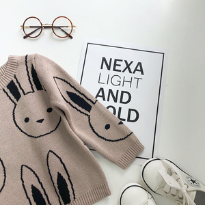 Image 5 - Ins Fashion Baby Girls Sweaters Boy Cartoon Rabbit Sweater Autumn Winter Kids Pullover Tops Cotton Knitwear For Girls Clothing