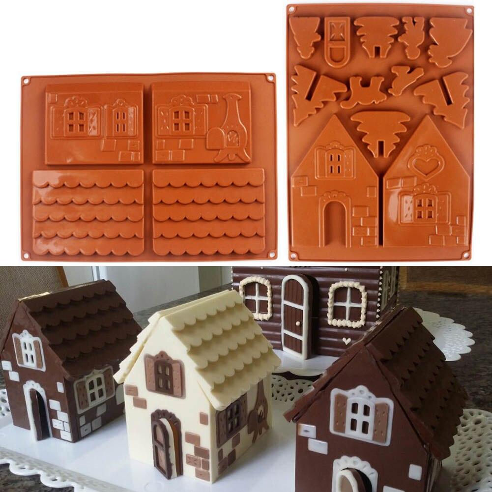 2 teile/satz 3D Weihnachten Lebkuchen Haus Silikon Form Schokolade Kuchen Form DIY Kekse Backen Werkzeuge LBShipping