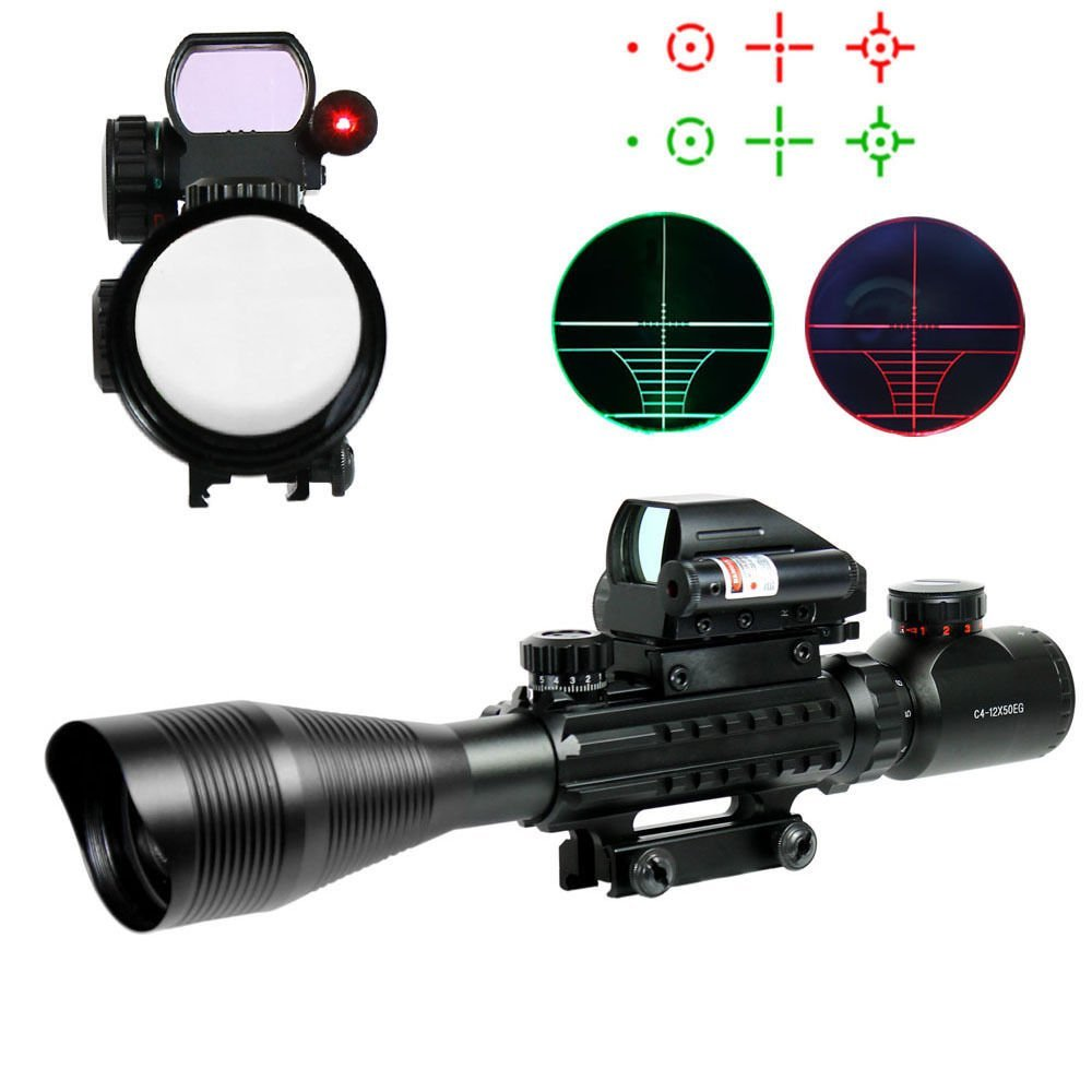 4-12X50 EG Tactical Rifle Scope with Reticle Sight & Red Laser 3 10x42 red laser m9b tactical rifle scope red green mil dot reticle with side mounted red laser guaranteed 100%