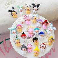 23pcs/lots of Lalafanfan Cute Keychain Kawaii Cafe Mimi Yellow Duck Action Figure Keyring Bags Decoration Toys For Children