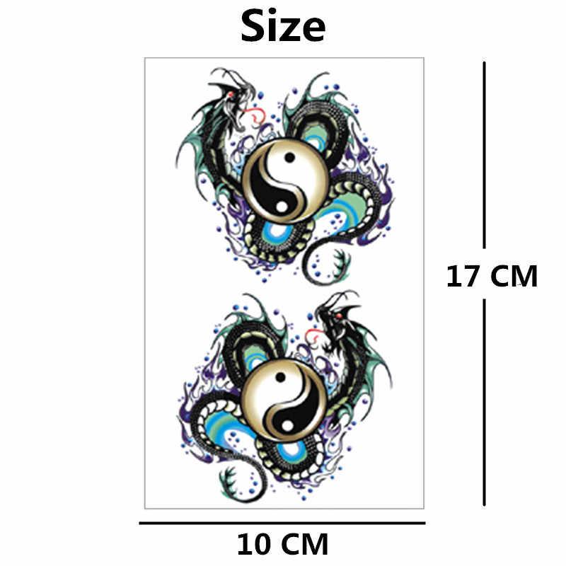 SHNAPIGN Yin Yang Taichi Dragon Temporary Tattoo Body Art Flash Tattoo  Stickers 17*10cm Waterproof Fake Car Styling Wall Sticker