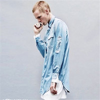Kanye West High Streeet Ripped Denim Shirts Men Justin Bieber New Fashion Water Washed Blue Distressed Loose Baggy Shirts S-XL