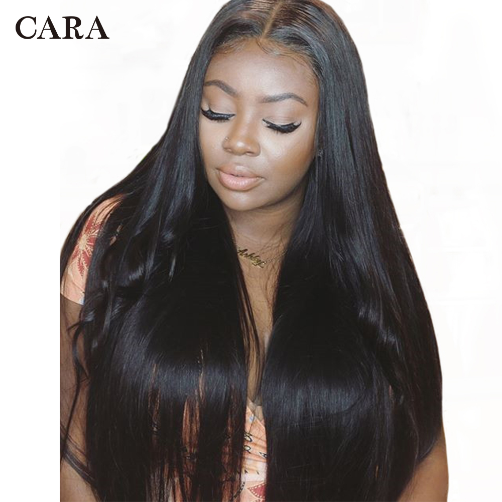 CARA Lace Front Human Hair Wigs For Black Women Silk Straight 250% Density Pre Plucked Natural Hairline With Baby Hair Remy Hair
